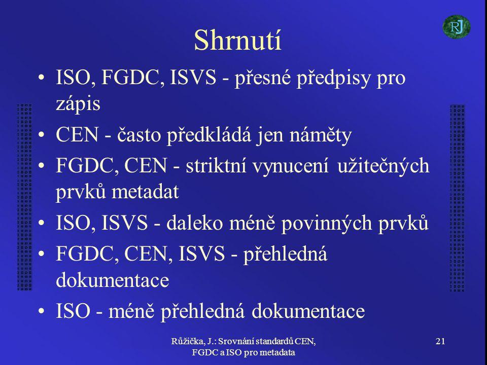 Růžička, J.: Srovnání standardů CEN, FGDC a ISO pro metadata 21 Shrnutí ISO, FGDC, ISVS - přesné předpisy pro zápis CEN - často předkládá jen náměty FGDC, CEN - striktní vynucení užitečných prvků metadat ISO, ISVS - daleko méně povinných prvků FGDC, CEN, ISVS - přehledná dokumentace ISO - méně přehledná dokumentace J R