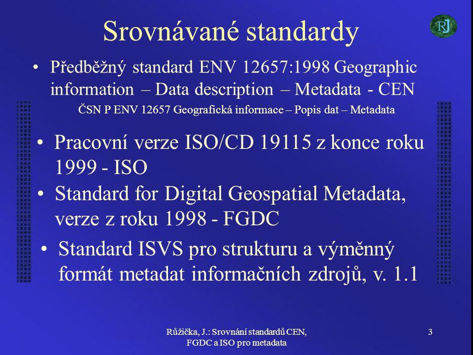 Růžička, J.: Srovnání standardů CEN, FGDC a ISO pro metadata 3 Srovnávané standardy Předběžný standard ENV 12657:1998 Geographic information – Data description – Metadata - CEN ČSN P ENV 12657 Geografická informace – Popis dat – Metadata Pracovní verze ISO/CD 19115 z konce roku 1999 - ISO Standard for Digital Geospatial Metadata, verze z roku 1998 - FGDC J R Standard ISVS pro strukturu a výměnný formát metadat informačních zdrojů, v.