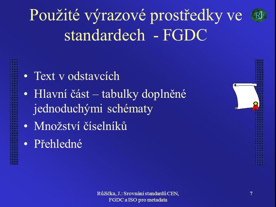 Růžička, J.: Srovnání standardů CEN, FGDC a ISO pro metadata 7 Použité výrazové prostředky ve standardech - FGDC Text v odstavcích Hlavní část – tabulky doplněné jednoduchými schématy Množství číselníků Přehledné J R