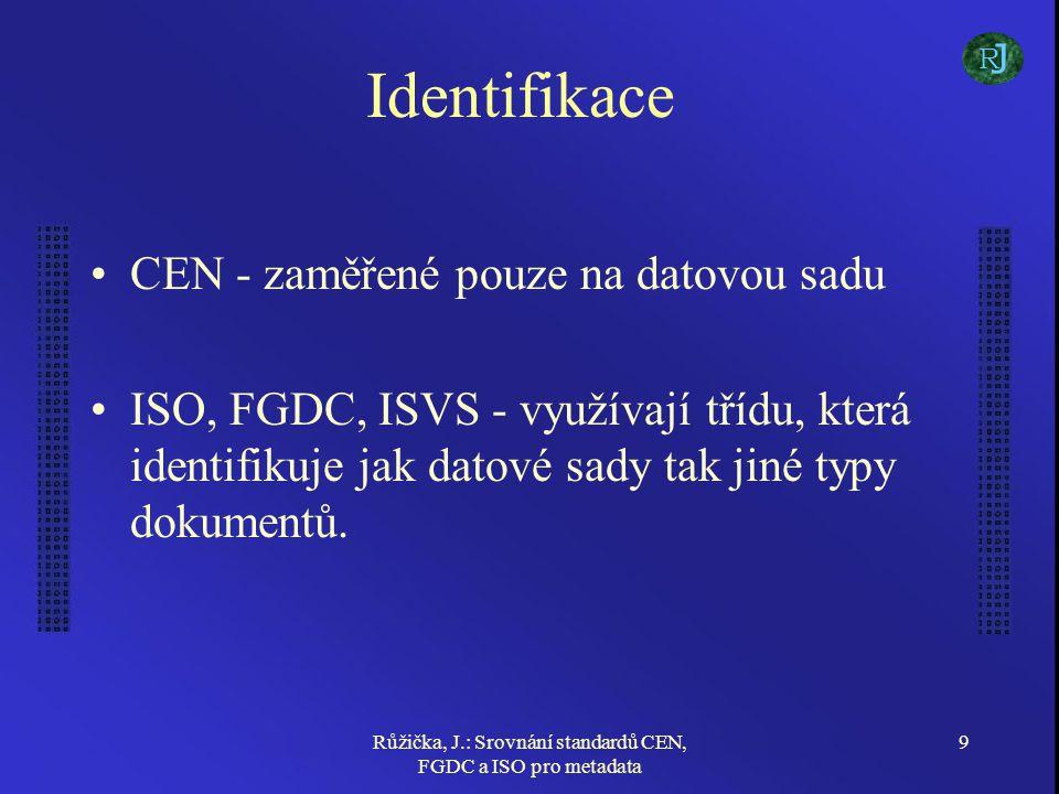 Růžička, J.: Srovnání standardů CEN, FGDC a ISO pro metadata 9 Identifikace CEN - zaměřené pouze na datovou sadu ISO, FGDC, ISVS - využívají třídu, která identifikuje jak datové sady tak jiné typy dokumentů.