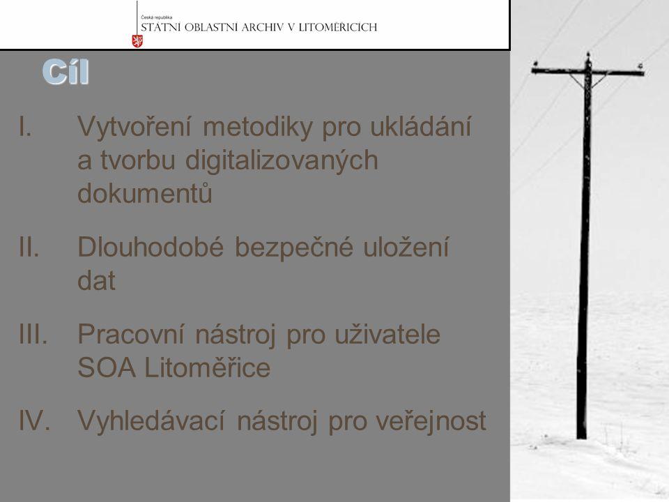 Cíl I.Vytvoření metodiky pro ukládání a tvorbu digitalizovaných dokumentů II.Dlouhodobé bezpečné uložení dat III.Pracovní nástroj pro uživatele SOA Litoměřice IV.Vyhledávací nástroj pro veřejnost
