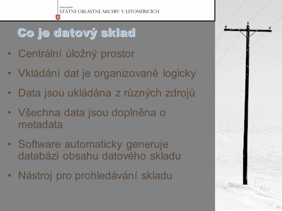 Co je datový sklad Centrální úložný prostor Vkládání dat je organizované logicky Data jsou ukládána z různých zdrojů Všechna data jsou doplněna o metadata Software automaticky generuje databázi obsahu datového skladu Nástroj pro prohledávání skladu