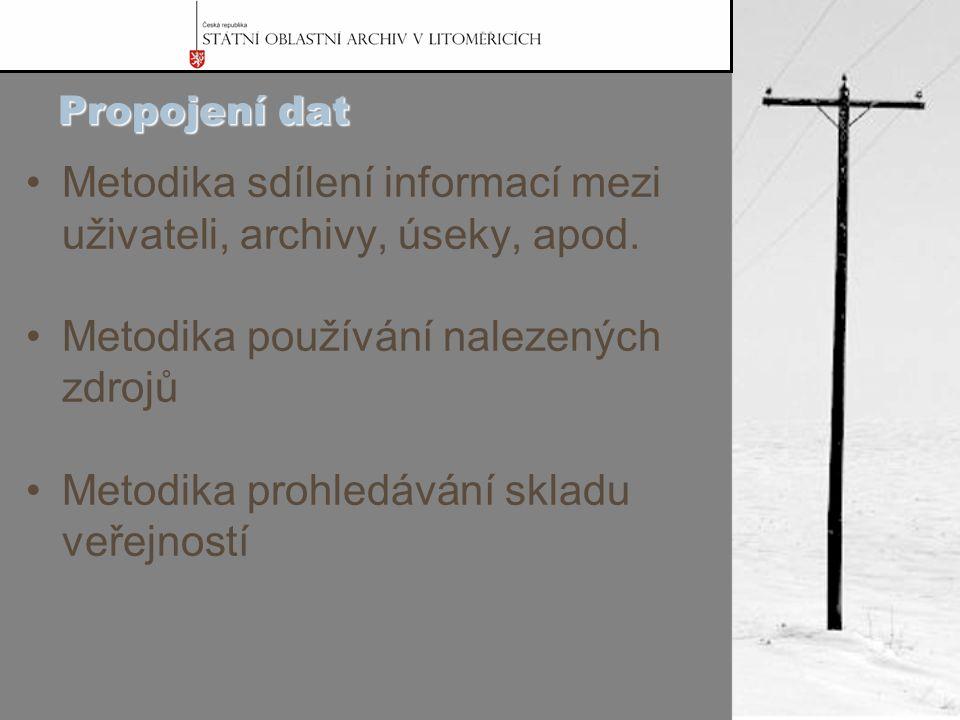 Propojení dat Metodika sdílení informací mezi uživateli, archivy, úseky, apod.