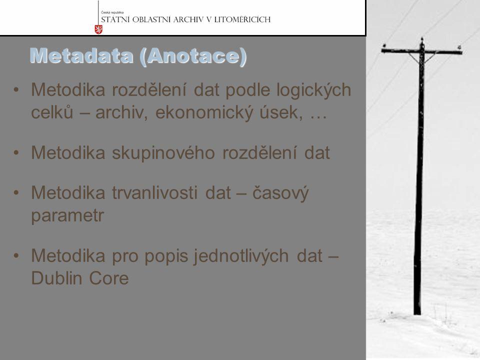 Metadata (Anotace) Metodika rozdělení dat podle logických celků – archiv, ekonomický úsek, … Metodika skupinového rozdělení dat Metodika trvanlivosti dat – časový parametr Metodika pro popis jednotlivých dat – Dublin Core