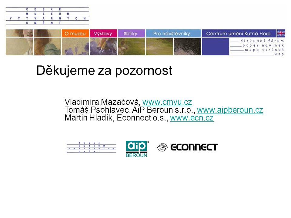 Děkujeme za pozornost Vladimíra Mazačová, www.cmvu.czwww.cmvu.cz Tomáš Psohlavec, AiP Beroun s.r.o., www.aipberoun.czwww.aipberoun.cz Martin Hladík, Econnect o.s., www.ecn.czwww.ecn.cz