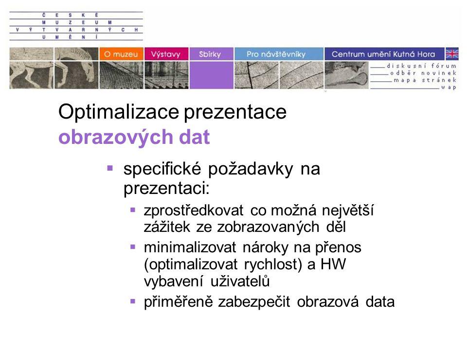 Optimalizace prezentace obrazových dat  specifické požadavky na prezentaci:  zprostředkovat co možná největší zážitek ze zobrazovaných děl  minimalizovat nároky na přenos (optimalizovat rychlost) a HW vybavení uživatelů  přiměřeně zabezpečit obrazová data