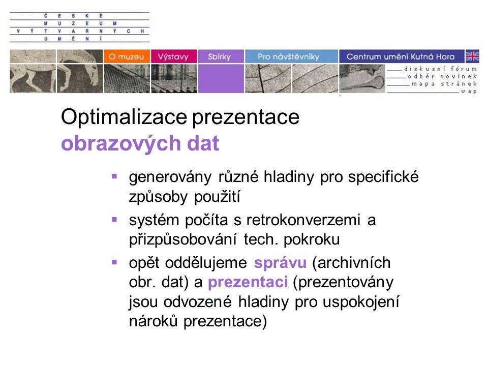 Optimalizace prezentace obrazových dat  generovány různé hladiny pro specifické způsoby použití  systém počíta s retrokonverzemi a přizpůsobování tech.