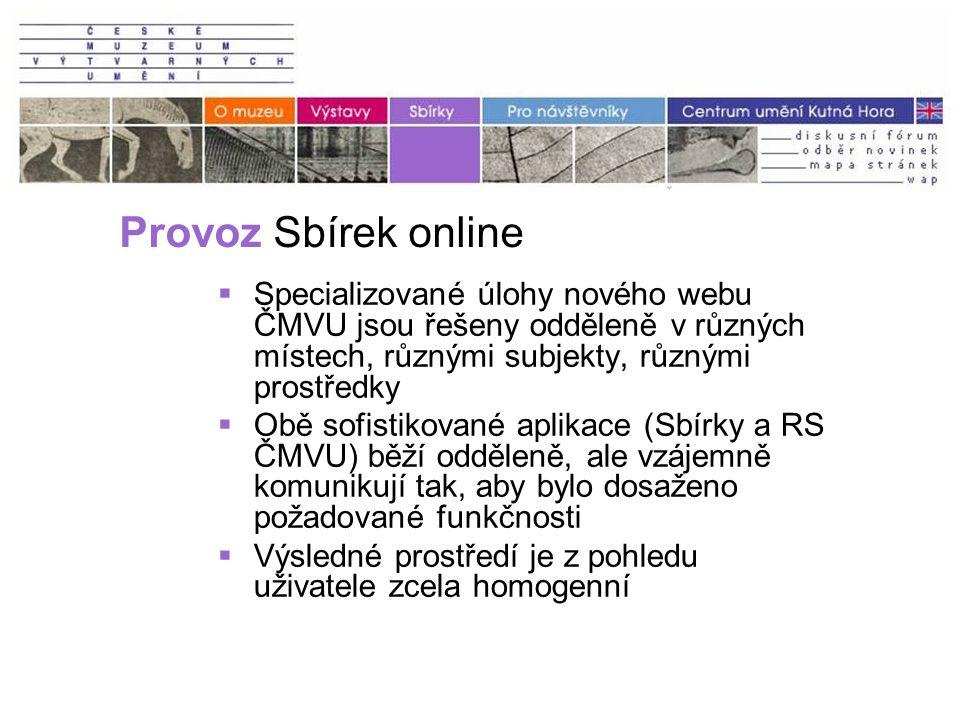 Provoz Sbírek online  Specializované úlohy nového webu ČMVU jsou řešeny odděleně v různých místech, různými subjekty, různými prostředky  Obě sofistikované aplikace (Sbírky a RS ČMVU) běží odděleně, ale vzájemně komunikují tak, aby bylo dosaženo požadované funkčnosti  Výsledné prostředí je z pohledu uživatele zcela homogenní