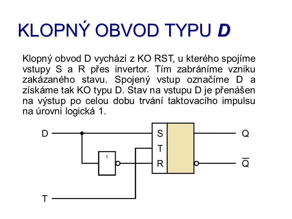 Jednotlivé stavy klopného obvodu D