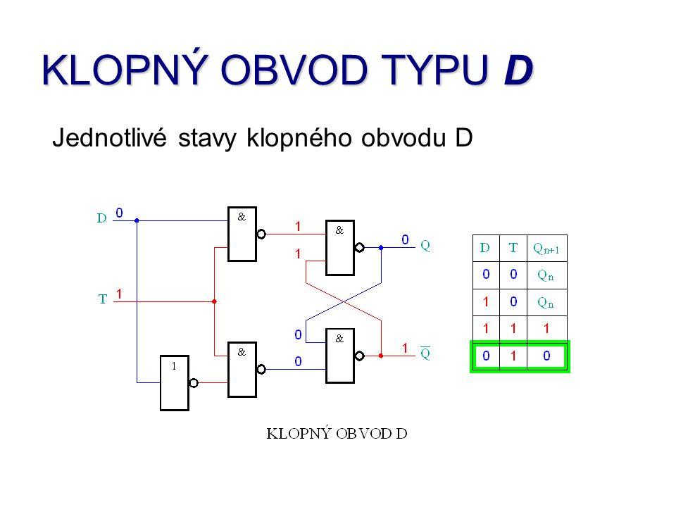 KLOPNÝ OBVOD TYPU D Tyto obvody můžeme najít realizované jako integrované obvody s označením 7475 a 7477, jako čtveřici bistabilních klopných obvodů nebo jako osmi a vícebitové budiče sběrnic s paměťmi, které mají označení 74373, 74374, 74841 a další.