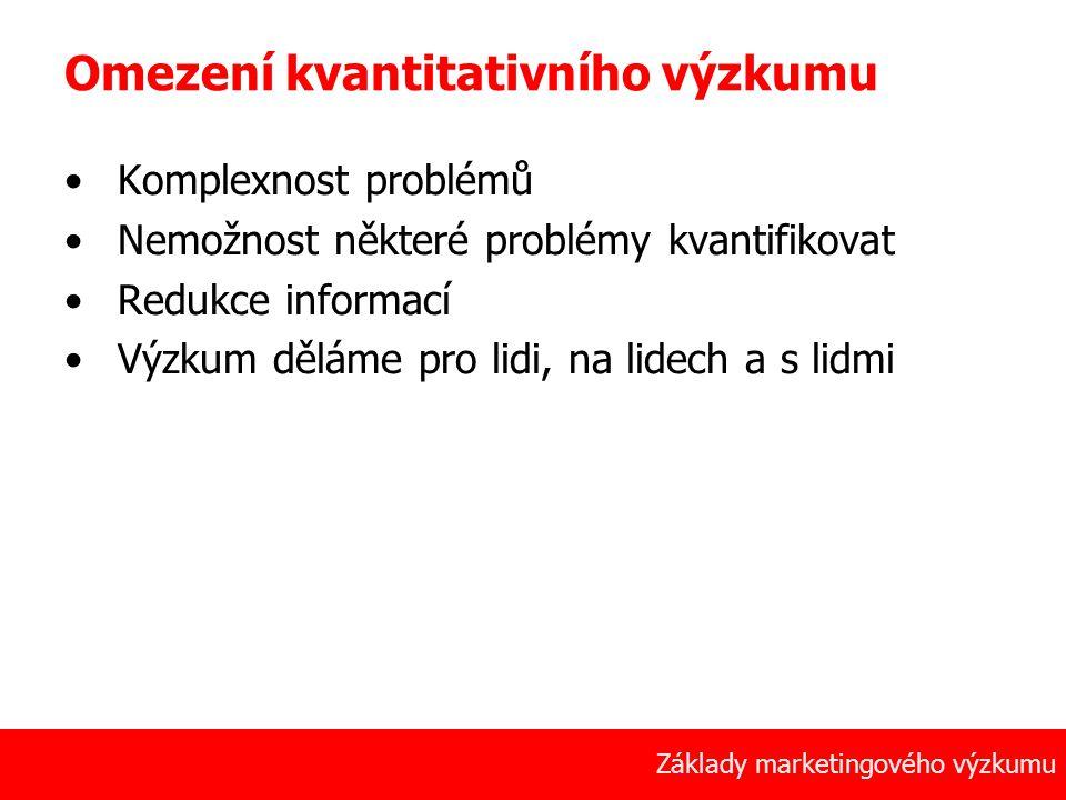 25 Základy marketingového výzkumu Omezení kvantitativního výzkumu Komplexnost problémů Nemožnost některé problémy kvantifikovat Redukce informací Výzk