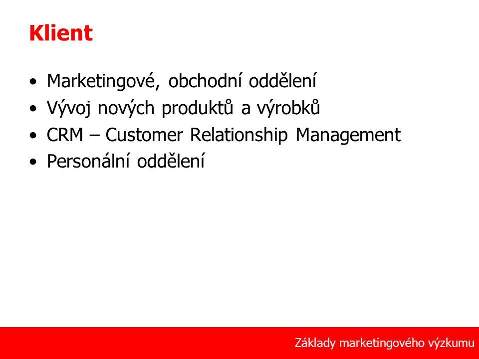 6 Základy marketingového výzkumu Klient Marketingové, obchodní oddělení Vývoj nových produktů a výrobků CRM – Customer Relationship Management Personá