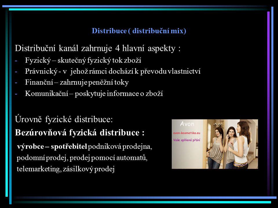 Distribuce ( distribuční mix) Distribuční kanál zahrnuje 4 hlavní aspekty : -Fyzický – skutečný fyzický tok zboží -Právnický - v jehož rámci dochází k