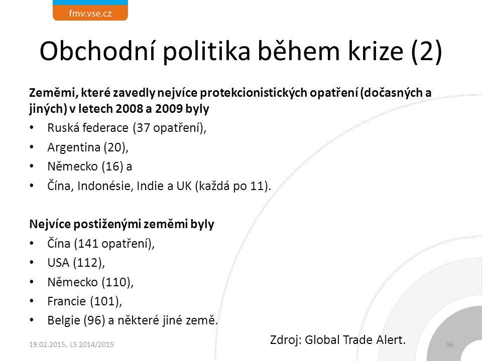 Obchodní politika během krize (2) Zeměmi, které zavedly nejvíce protekcionistických opatření (dočasných a jiných) v letech 2008 a 2009 byly Ruská fede