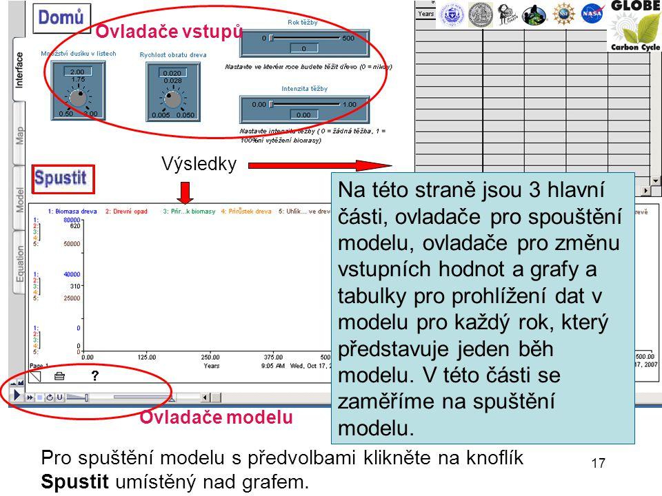 17 Ovladače vstupů Výsledky Ovladače modelu Pro spuštění modelu s předvolbami klikněte na knoflík Spustit umístěný nad grafem.
