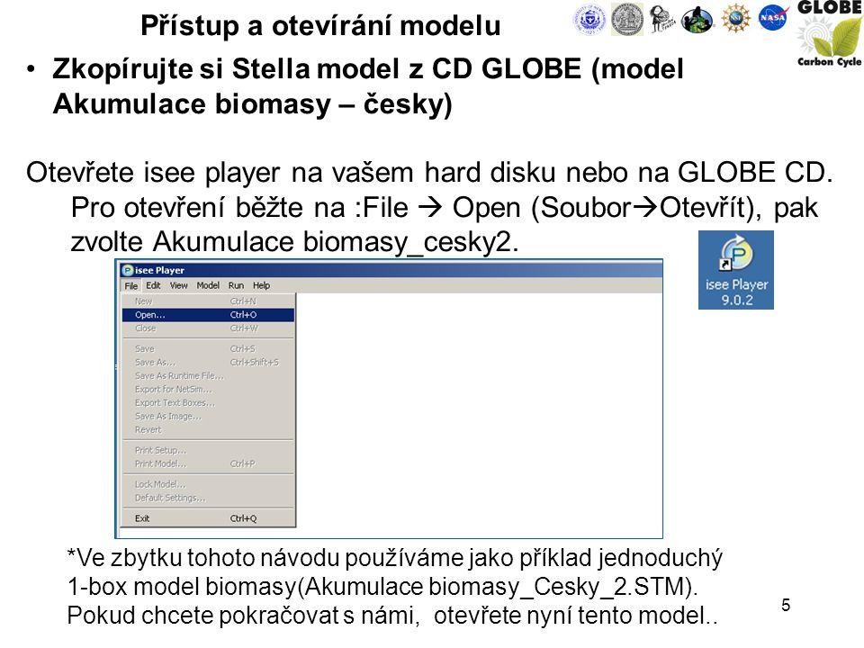 5 Přístup a otevírání modelu Zkopírujte si Stella model z CD GLOBE (model Akumulace biomasy – česky) Otevřete isee player na vašem hard disku nebo na GLOBE CD.