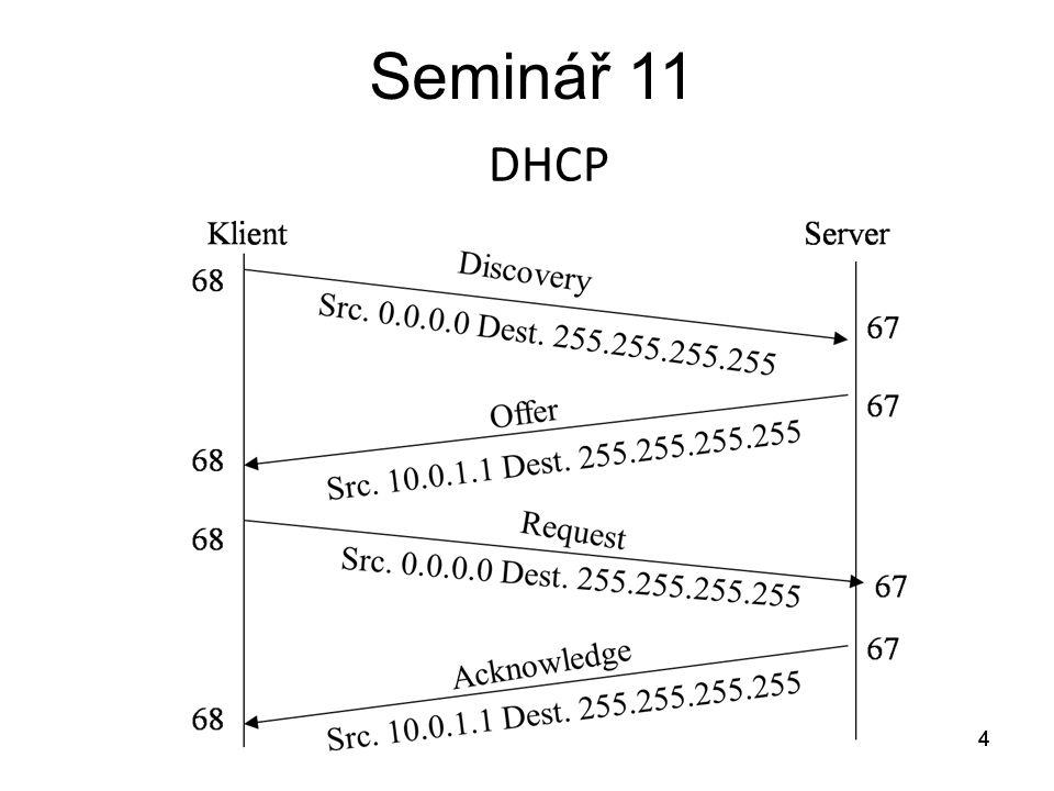 Seminář 11 Úkol Pro PC v síti 172.16.100.0/24 v doméně pokus.local nakonfigurujte DHCP servis pro přiřazení: IP adresy Doménového jména Domény Default routeru DNS serverů (primárního a sekundárního) Postupně proveďte konfigurace: 1.Na routeru 2.Na PC 172.16.100.100/24 3.Na PC 172.16.200.2/24 přes DHCP Relay Agent 5