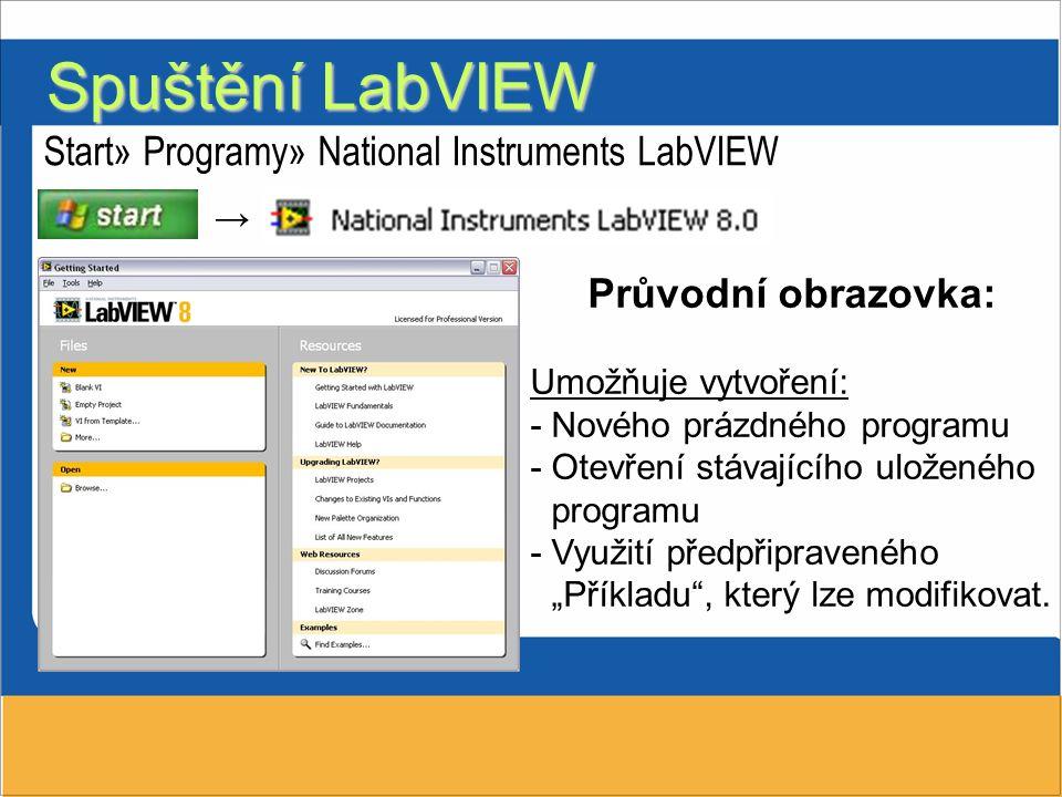 """Start» Programy» National Instruments LabVIEW Průvodní obrazovka: Umožňuje vytvoření: -Nového prázdného programu -Otevření stávajícího uloženého programu -Využití předpřipraveného """"Příkladu , který lze modifikovat."""