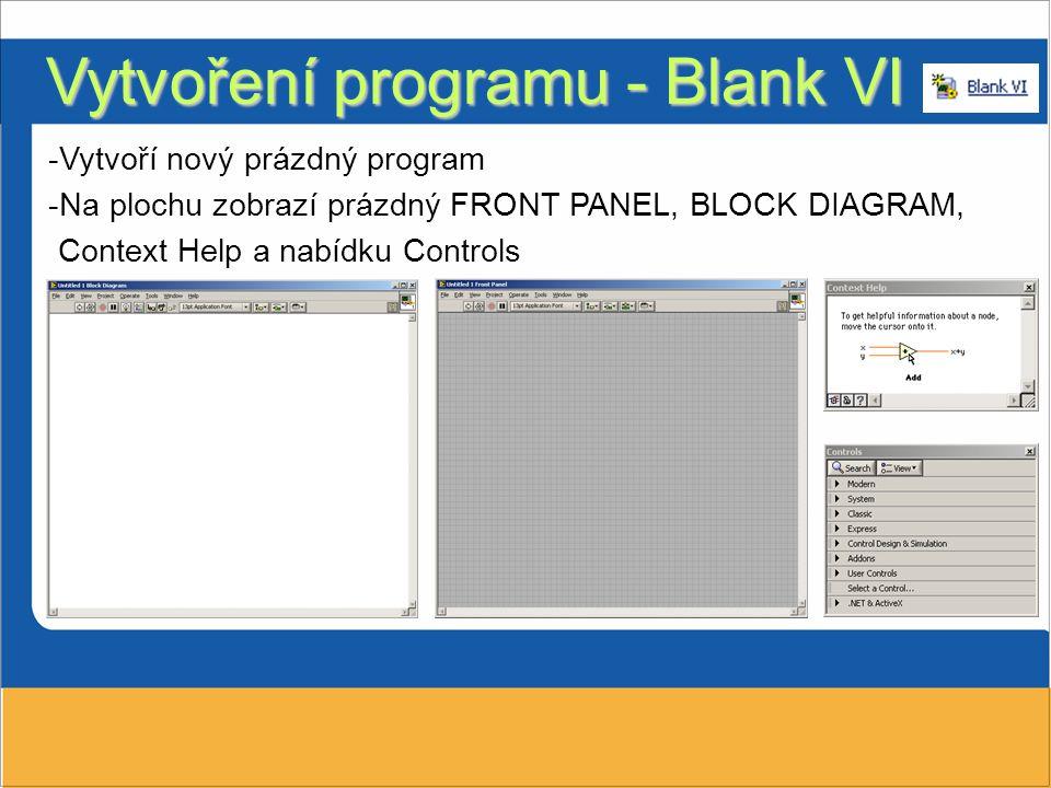 Vytvoření programu - Blank VI -Vytvoří nový prázdný program -Na plochu zobrazí prázdný FRONT PANEL, BLOCK DIAGRAM, Context Help a nabídku Controls