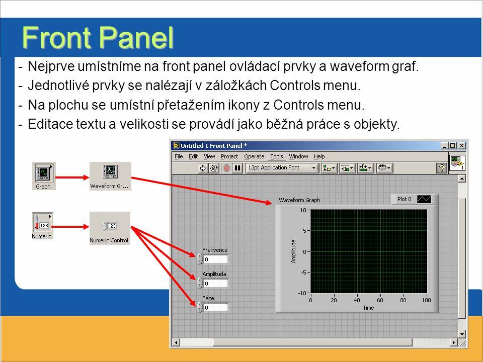 Front Panel -Nejprve umístníme na front panel ovládací prvky a waveform graf.