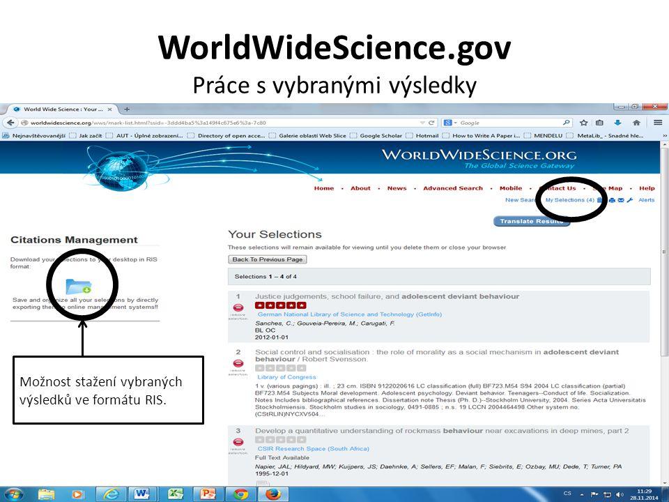 WorldWideScience.gov Vyexportované vybrané záznamy