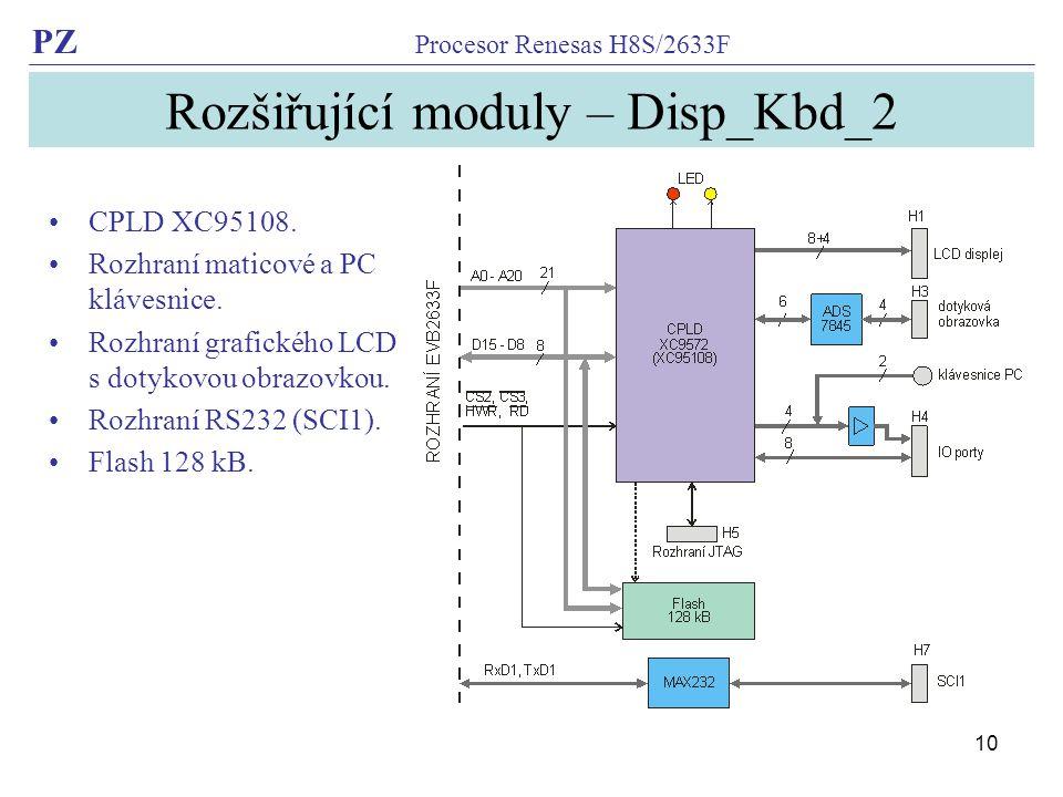 PZ Procesor Renesas H8S/2633F 10 Rozšiřující moduly – Disp_Kbd_2 CPLD XC95108.