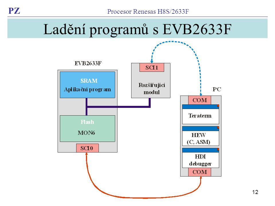 PZ Procesor Renesas H8S/2633F 12 Ladění programů s EVB2633F