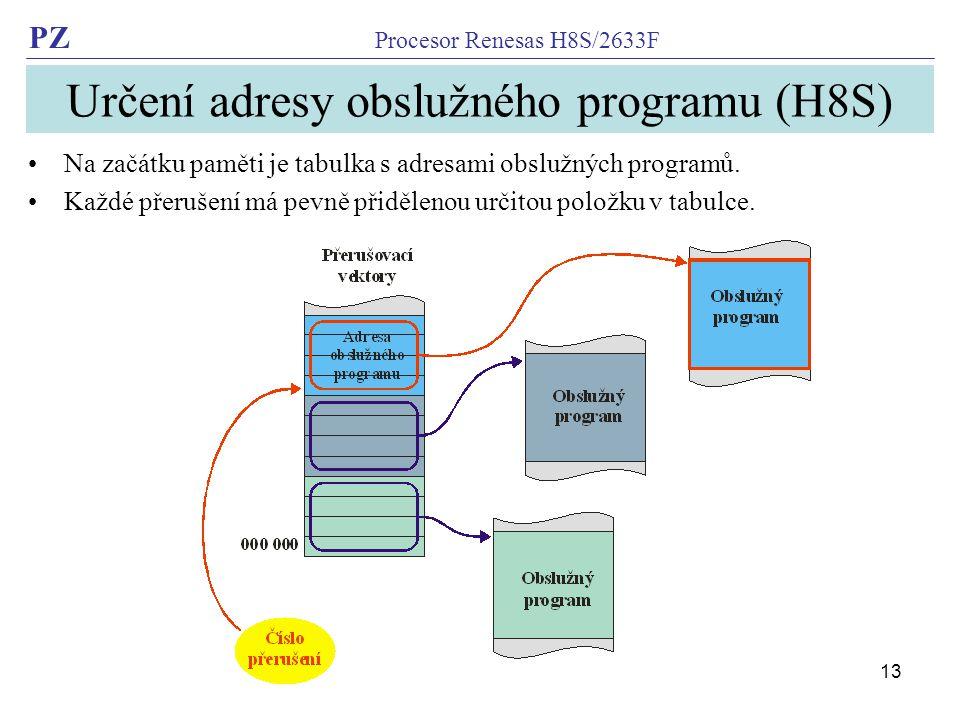 PZ Procesor Renesas H8S/2633F 13 Určení adresy obslužného programu (H8S) Na začátku paměti je tabulka s adresami obslužných programů.