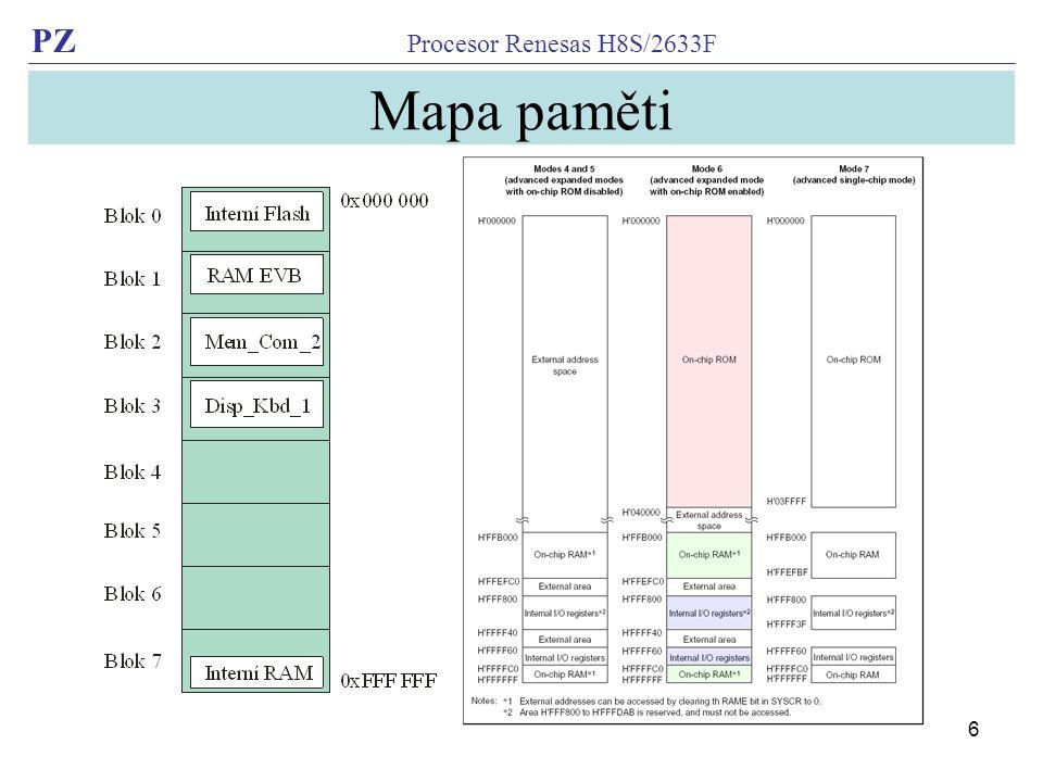 PZ Procesor Renesas H8S/2633F 6 Mapa paměti