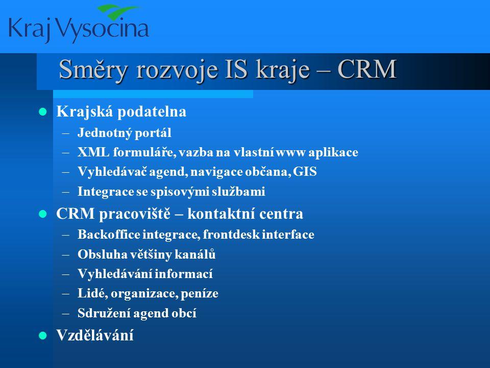 Směry rozvoje IS kraje – CRM Krajská podatelna –Jednotný portál –XML formuláře, vazba na vlastní www aplikace –Vyhledávač agend, navigace občana, GIS