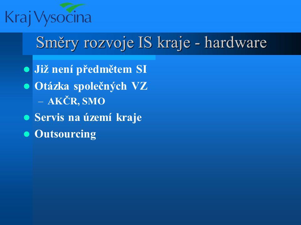 Směry rozvoje IS kraje - hardware Již není předmětem SI Otázka společných VZ –AKČR, SMO Servis na území kraje Outsourcing