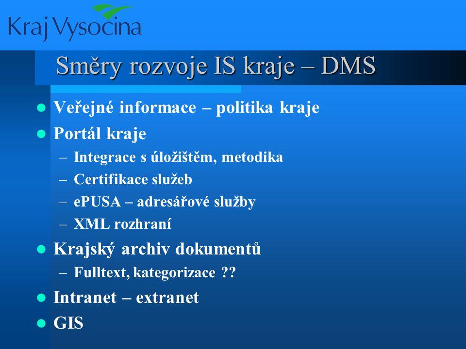 Směry rozvoje IS kraje – DMS Veřejné informace – politika kraje Portál kraje –Integrace s úložištěm, metodika –Certifikace služeb –ePUSA – adresářové