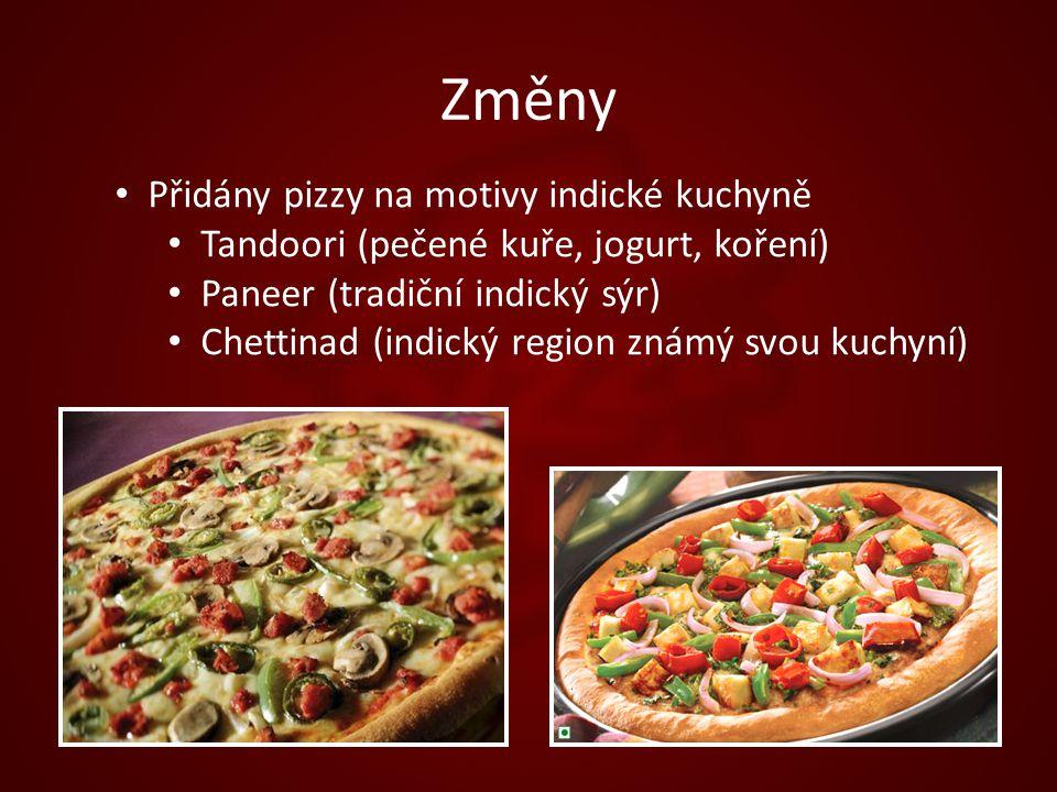 Změny Přidány pizzy na motivy indické kuchyně Tandoori (pečené kuře, jogurt, koření) Paneer (tradiční indický sýr) Chettinad (indický region známý svou kuchyní)