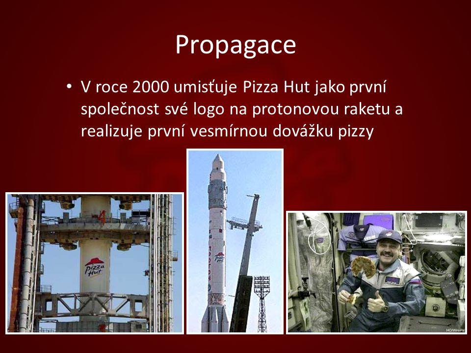 Propagace V roce 2000 umisťuje Pizza Hut jako první společnost své logo na protonovou raketu a realizuje první vesmírnou dovážku pizzy