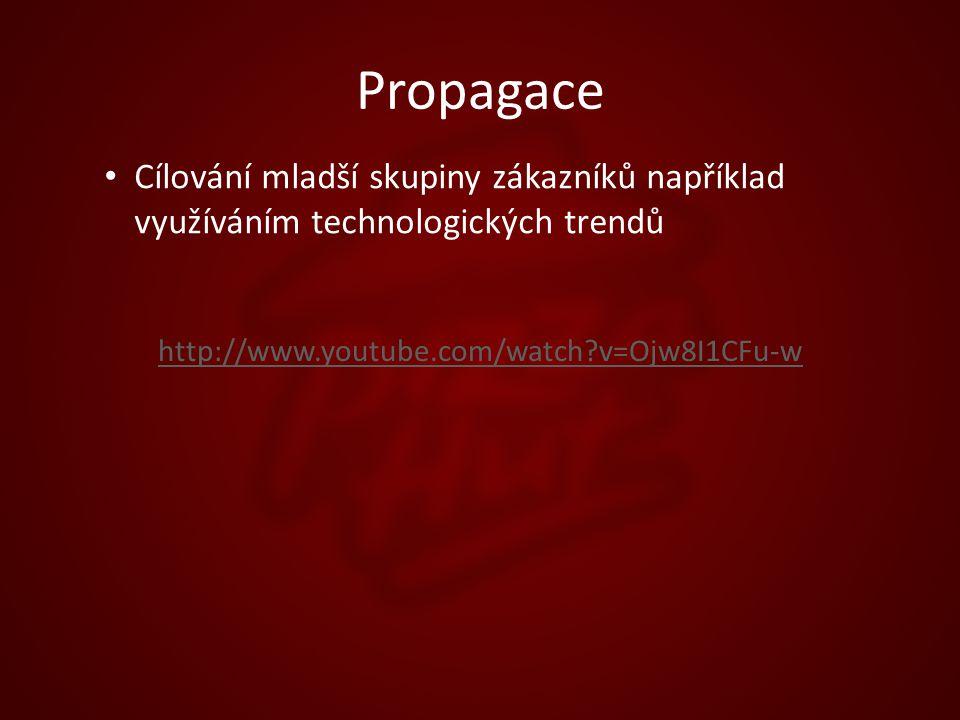 Propagace Cílování mladší skupiny zákazníků například využíváním technologických trendů http://www.youtube.com/watch v=Ojw8I1CFu-w