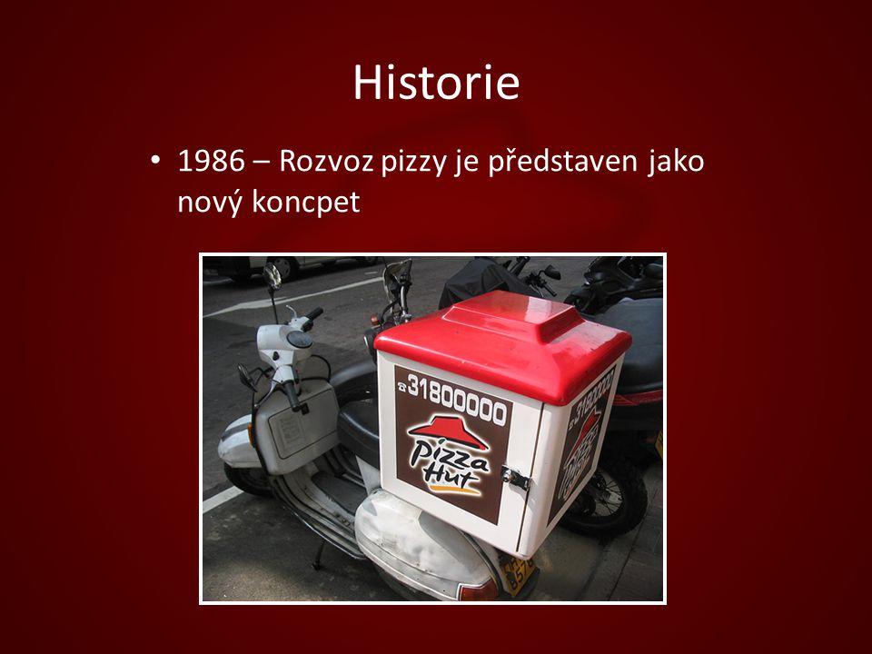 Historie 1986 – Rozvoz pizzy je představen jako nový koncpet