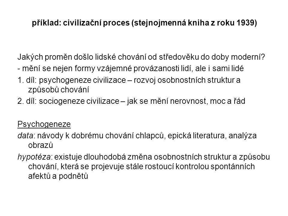 příklad: civilizační proces (stejnojmenná kniha z roku 1939) Jakých proměn došlo lidské chování od středověku do doby moderní? - mění se nejen formy v
