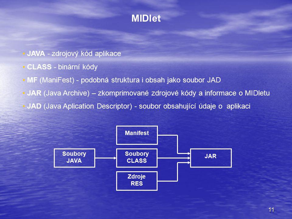 11 MIDlet JAVA - zdrojový kód aplikace CLASS - binární kódy MF (ManiFest) - podobná struktura i obsah jako soubor JAD JAR (Java Archive) – zkomprimované zdrojové kódy a informace o MIDletu JAD (Java Aplication Descriptor) - soubor obsahující údaje o aplikaci Manifest Soubory CLASS Zdroje RES Soubory JAVA JAR