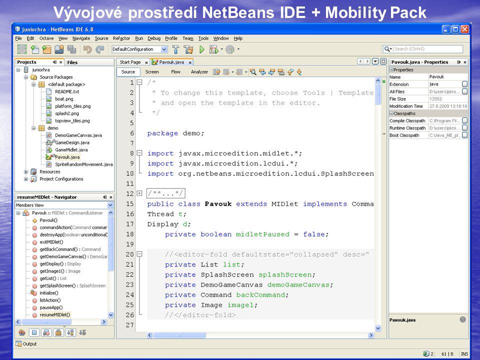 16 Vývojové prostředí NetBeans IDE + Mobility Pack