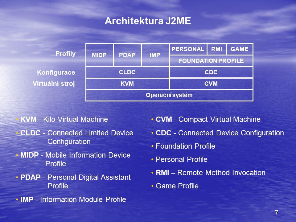 18 Emulátory mobilních zařízení Samostatné spouštění Instalace do Wireless Toolkit Instalace do vývojového prostředí Sebelepší emulátor úplně nezastoupí reálné zařízení Možnosti používání emulátorů: Odkazy na emulátory některých výrobců: Nokia - http://www.forum.nokia.com/main/platforms/ Motorola - https://developer.motorola.com/docstools/sdks/ Samsung - http://developer.samsungmobile.com/Developer/index.jsp SonnyEriccson - http://developer.sonyericsson.com/