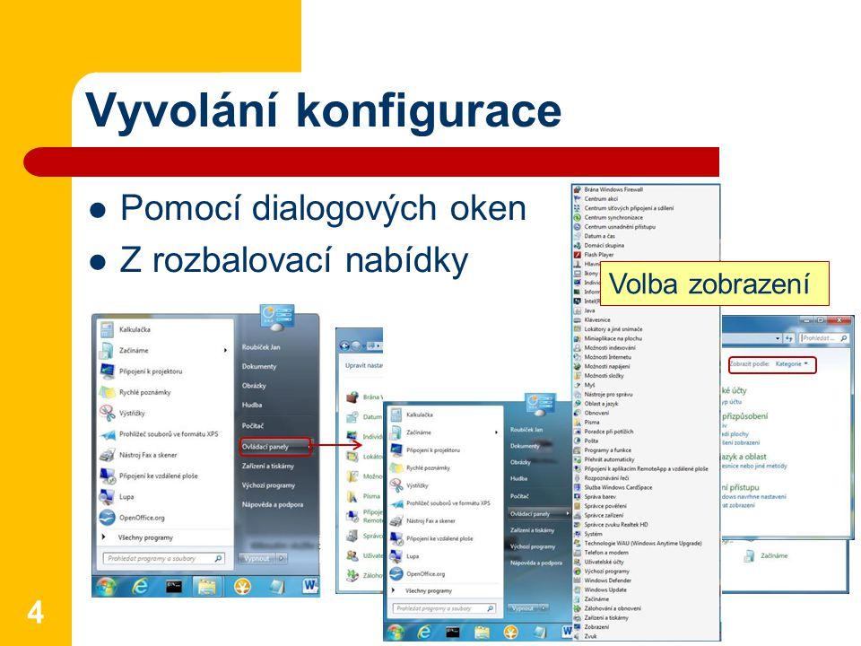 Vyvolání konfigurace 4 Pomocí dialogových oken Z rozbalovací nabídky Volba zobrazení