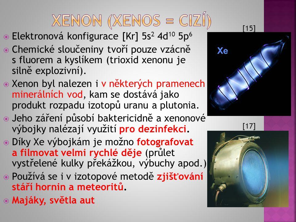  Elektronová konfigurace [Ar] 4s 2 3d 10 4p 6  Přítomen ve vzduchu, vzniká i jaderným štěpením uranu.