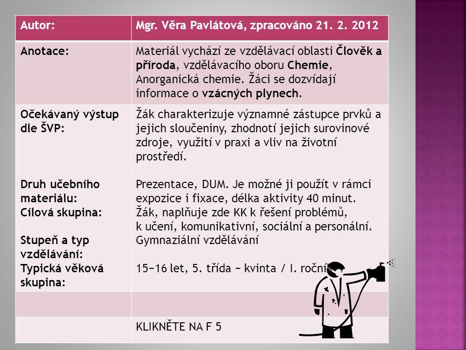 Autor:Mgr.Věra Pavlátová, zpracováno 21. 2.