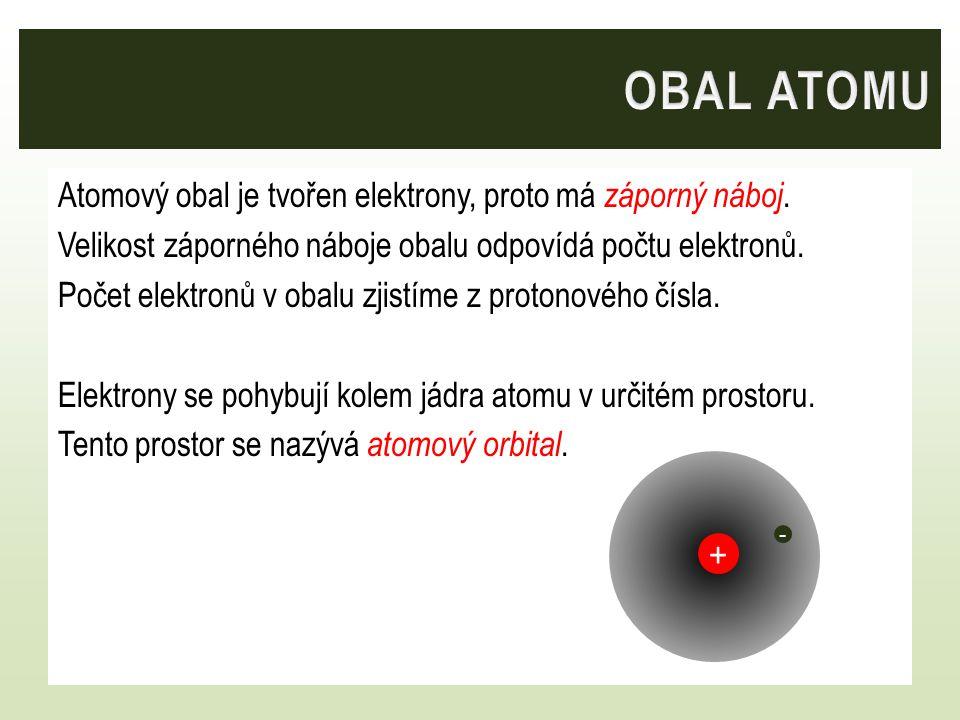 Atomový obal je tvořen elektrony, proto má záporný náboj. Velikost záporného náboje obalu odpovídá počtu elektronů. Počet elektronů v obalu zjistíme z