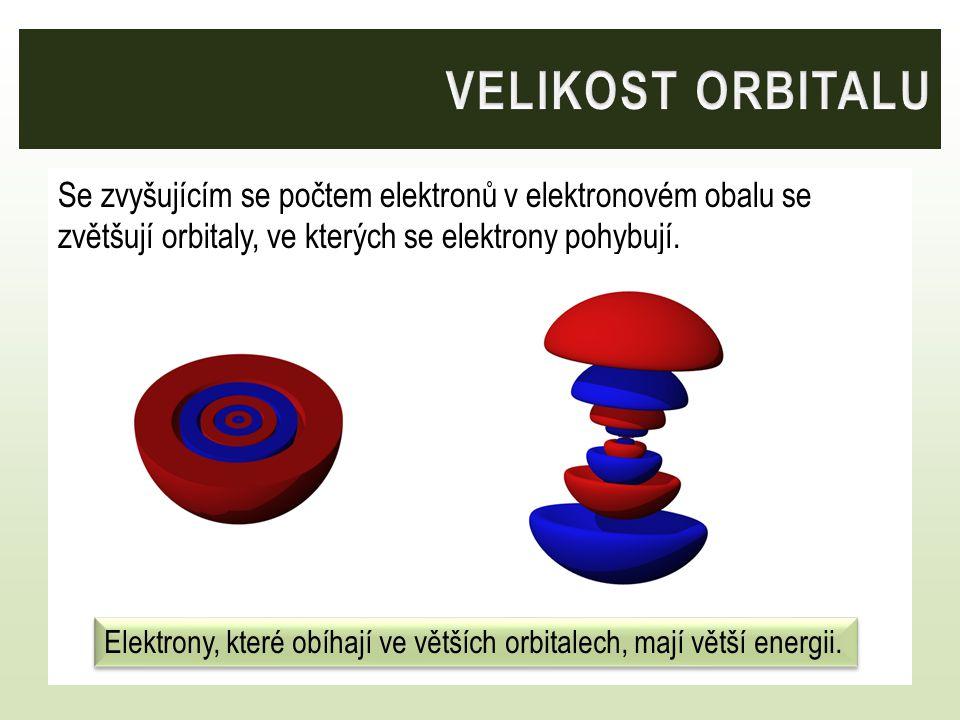 Se zvyšujícím se počtem elektronů v elektronovém obalu se zvětšují orbitaly, ve kterých se elektrony pohybují. Elektrony, které obíhají ve větších orb