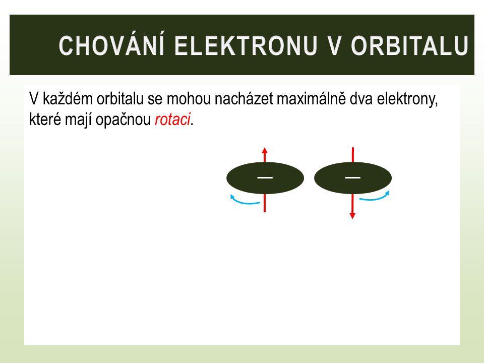 V každém orbitalu se mohou nacházet maximálně dva elektrony, které mají opačnou rotaci.