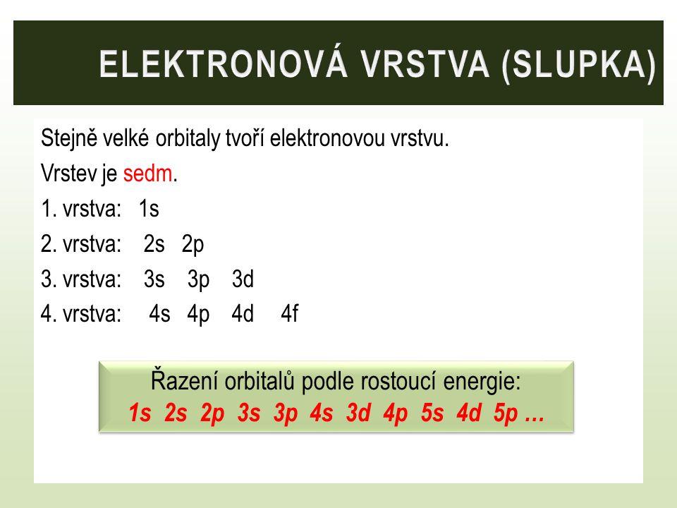 Stejně velké orbitaly tvoří elektronovou vrstvu. Vrstev je sedm. 1. vrstva: 1s 2. vrstva: 2s 2p 3. vrstva: 3s 3p 3d 4. vrstva: 4s 4p 4d 4f Řazení orbi