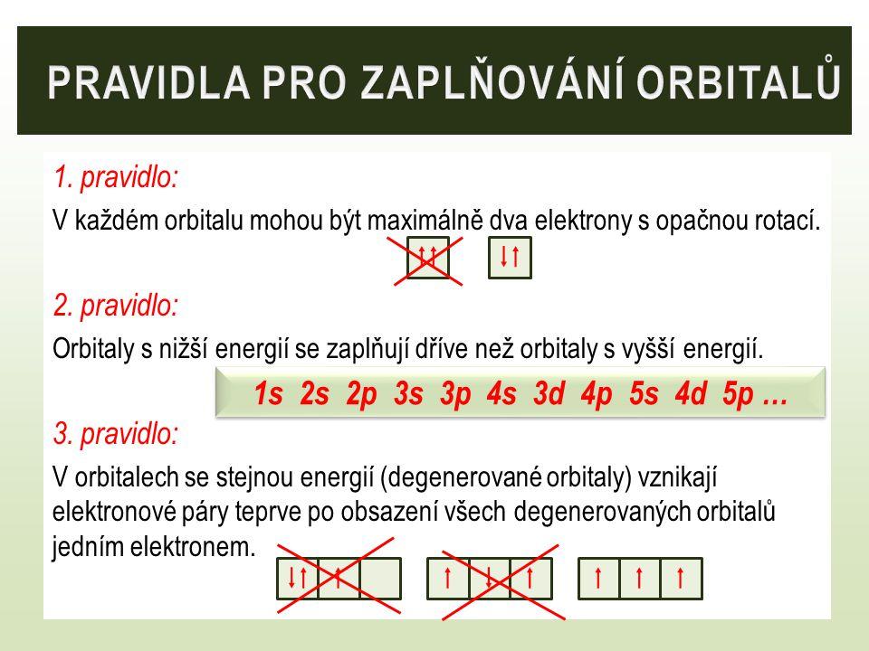 1. pravidlo: V každém orbitalu mohou být maximálně dva elektrony s opačnou rotací. 2. pravidlo: Orbitaly s nižší energií se zaplňují dříve než orbital