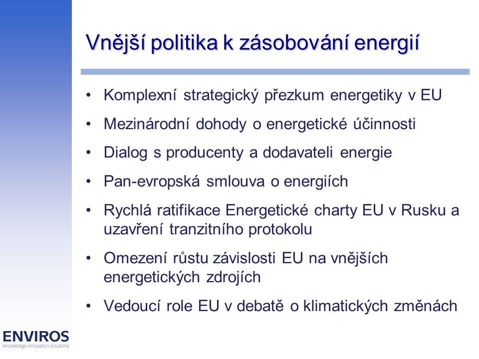 Vnější politika k zásobování energií Komplexní strategický přezkum energetiky v EU Mezinárodní dohody o energetické účinnosti Dialog s producenty a do