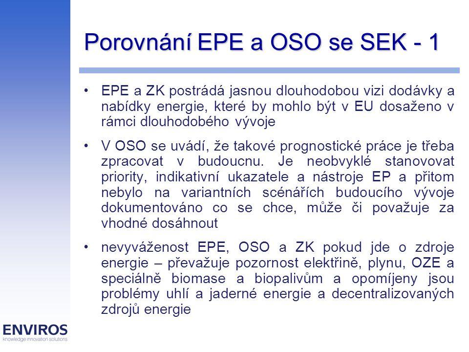 Porovnání EPE a OSO se SEK - 1 EPE a ZK postrádá jasnou dlouhodobou vizi dodávky a nabídky energie, které by mohlo být v EU dosaženo v rámci dlouhodob